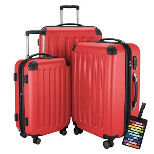 HAUPTSTADTKOFFER Hartschalen Koffer SPREE 1203 · NEU 4 Doppel-Rollen · MATT · TSA Zahlenschloss · + KOFFERANHÄNGER (Set, Rot)