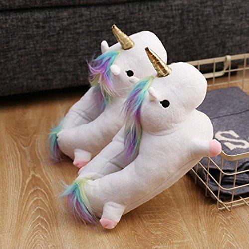 Chaussons Peluche Licorne Très doux, QinMM Adulte Pantoufle Hiver Peluche Unicorn Chaussures de Maison Blanc