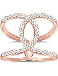 Silvernshine Halo Twist CZ Diamonds Engagement Ring 14k Rose Gold Plated Bridal Ring Set