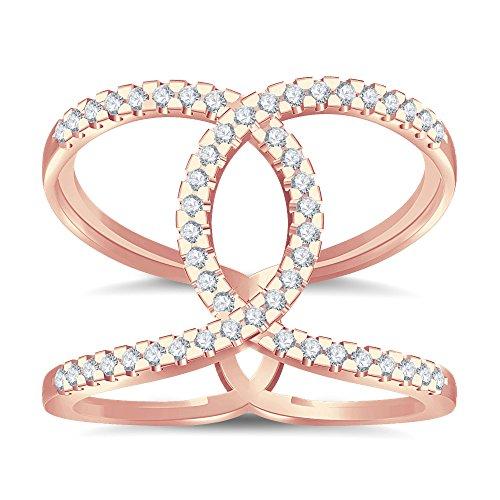 Silvernshine Halo Twist CZ Diamonds Engagement Ring 14k Rose Gold Plated Bridal Ring Set
