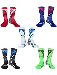 LIKERAINY 5 Pares Hombres Mujeres Elástico Térmico Compresión Calcetines de Baloncesto Atléticos Trekking Ciclismo Funcional Deporte
