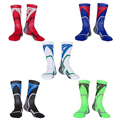Likerainy 5 paia termiche calzettoni da uomo donna con suola in spugna calze a compressione calzini da ciclismo pallacanestro trekking skiing sportivi elastiche traspirante socks (39-42 eur)