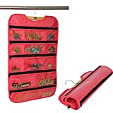KRIO Hanging Jewellery Organizer Double Sided Pockets Pink