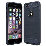 Anjoo Kompatibel für iPhone 6/6s Hülle, Carbon Fiber Texture-Inner Shock Resistant-Weich und Flexibel TPU Cover Case für iPhone 6 iPhone 6s, Blau