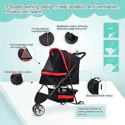 Pet Travel Stroller Three Wheels Cat Dog Pushchair Trolley,Puppy Carrier,Shockproof,Single Front Wheel 360° Rotation… 6
