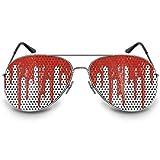 """COOLEARTIKEL Halloween/Fasching Spaßbrille mit Motiv """"Bloodrain"""", Partybrille / Fun-Brille als lustiges Accessoire für dein Horror Kostüm, im Nerd oder Piloten Stil (Pilotenbrille silber)"""