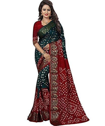 Vivera Women's Cotton Silk Saree With Blouse Piece (Vrbandhani4_4 _Multicolor)
