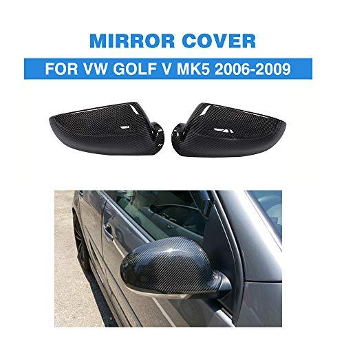 ZHAOHAOSC Kohlefaser ersatz Stil Auto seitenspiegel abdeckungen fit, für vw Golf v mk5 2006-2009 spiegelkappen