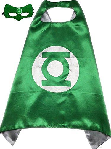 Sunkee Superheld oder Prinzessin CAPE & MASK SET Kind-Kinder-Halloween-Kostüm (Green Lantern, Grün und Weiß) (Green Lantern Kostüme Für Erwachsene)
