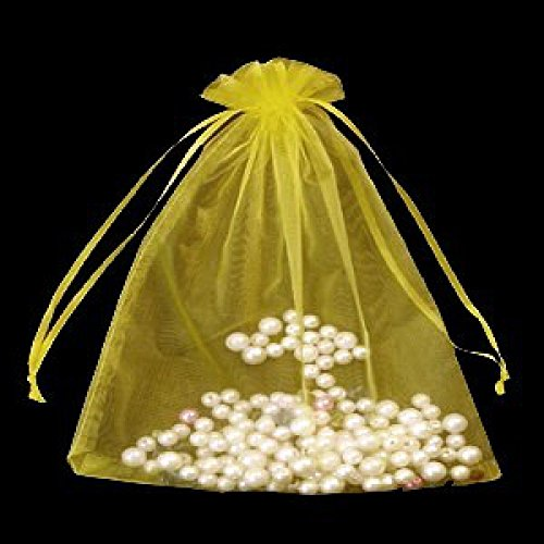 50 Lemon Yellow , Organza Bags , small , 7 cm x 9 cm