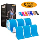 Deilin Kinesiology Tape Uncut, Elastic Therapeutic Sports Tapes for Knee Shoulder and Elbow, Waterproof Athletic Physio Muscles Strips, Breathable, Latex Free - 6m x 5cm Roll (3 Rolls Blue + eGuide)