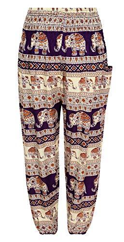 Pantalones de Yoga con Estampado de Elefante de pureza, Bohemio, Hippy Morado...