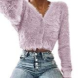 Pullover Damen, Casual Langarmshirt Herbst Frühling Pulli Wrap Asymmetrische Pullover Beiläufig Oberteil für draußen von ABsoar