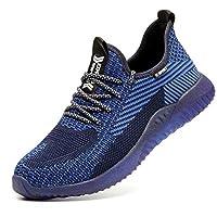 SUADEX Steel Toe Work Shoes Indestructible Shoes Men Women Lightweight Construction Composite Toe Shoes Blue Size 11.5-12 Women/10-10.5 Men