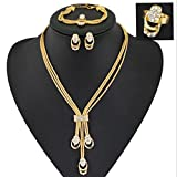 GYJUN Women's Vintage 18K Gold Plated Zirconia Long Tassel Necklace & Earrings & Bracelet & Ring Jewelry Sets