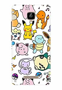Noise Designer Printed Case / Cover for Lava A48 / Animated Cartoons / Pokemon Doodles Design