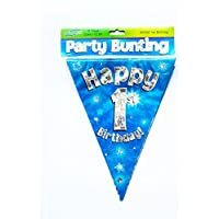 Happy 1st Birthday Flag Bunting Age Boys Blue Kids Banner Partyware Decorations