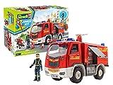 Revell 819 Feuerwehr-Auto mit Spielfigur Der Bausatz mit dem Schraubsystem für Kinder ab 4 Jahre, Bauen-Schrauben-Spielen, mit tollen Funktionen, rot, Länge ca. 30 cm