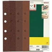 Bosch 2607019499 - Paquete de 25 lijas para lijadoras orbitales (93 x 230 mm, 8 perforaciones, grano 60, 80, 120, 240)