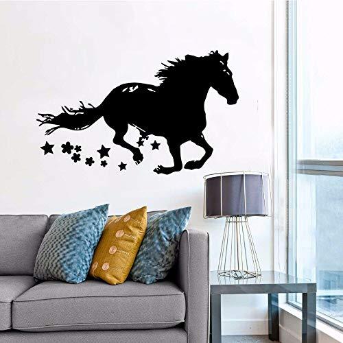Ajcwhml Running Horse Home Decoration Pferdezeichnung Silhouette Vinyl Wandaufkleber Abnehmbare Pferd Tier Tapete 68X42 Cm (Roller-stick Running)