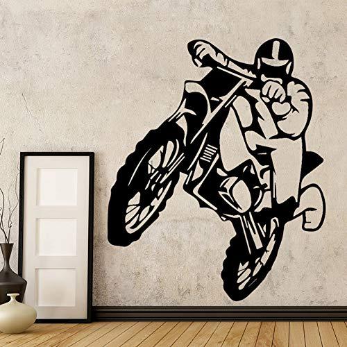 SMZYKW Wandaufkleber Motorrad Dirt Bike Vinyl Wandaufkleber Kids Home Motor Abnehmbare Wandtattoo Schlafzimmer Dekor Wandbild Weihnachten Geschenk