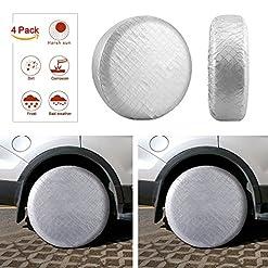 Aueide Pneumatico Ruota Protezioni Tire Covers RV Camper Wheel Covers Sun Protector Pellicola di Alluminio Impermeabile, Fodera in Cotone 68,6cm a 73,7cm e Diametro Pneumatici Set di 4