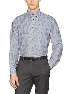 eterna Herren Businesshemd Comfort Fit Langarm Weinrot Kariert mit Modern Button-Down-Kragen