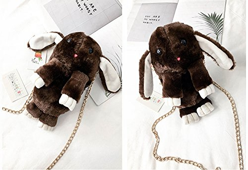 Sac à Bandoulière en Peluche Animal Téléphone Sac à Bandoulière Peut Être Sac de Dessin Animé Lapin Lapin , marron