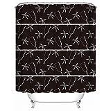 SHENMAHU SHOP Benutzerdefinierte Duschvorhang, abstrakte Spiegel und Blumen Muster schwarzen und weißen Hintergrund, wasserdicht Polyester Stoff Duschvorhänge für Badezimmer 36