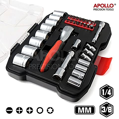 Apollo 35 Piece Metric Socket Set (4mm to 21 mm) with Professional 72 Teeth Dual Dr. Quick Release Ratchet Handle and Accessories in Compact Storage Box