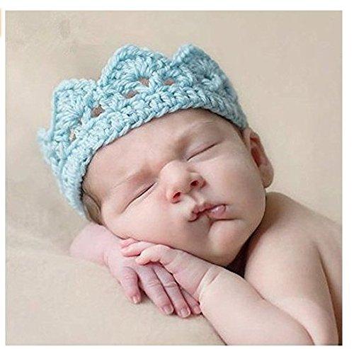 Fotografie Baby Hüte, Isuper Baby Kronen Hut Kostüm Handgestrickter Hut für Mädchen-, und Jungenbaby Neugeborene Baby Fotografie Requisiten, Blau