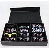 High-grade Pu Leather Sunglasses Storage Box For 12 Glasses Black 001-2