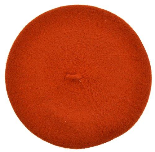 JOYHY Damen Solide Klassisch Französisch Stil Baskenmütze Mütze Hut Orange (Hut Klassischer Wolle Orange)