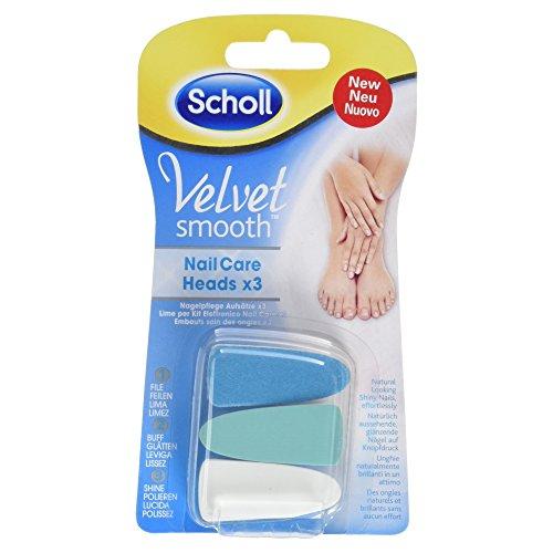 Scholl Velvet Smooth Elektronisches Nagelpflegesystem Ersatzfeilen mit 3 Aufsätze, 1 Stück