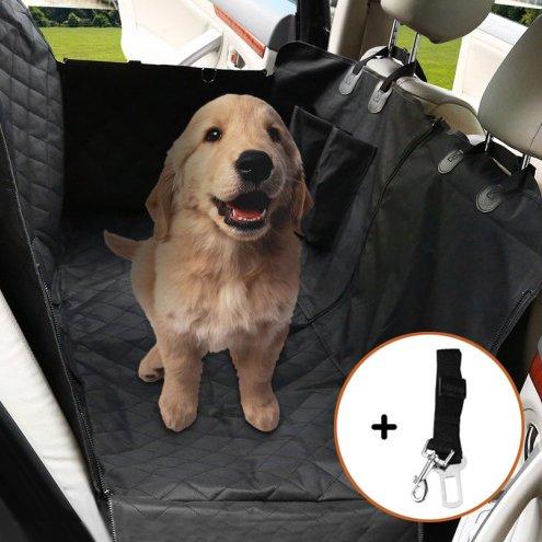 Burrby Hund Auto Sitzbezug Verstellbar Haustier Hund Auto Sicherheitsgurt, Wasserdicht, Waschbar, Rutschfest, Passend für Alle Cars Trucks SUV, Schwarz Chuck Oxford