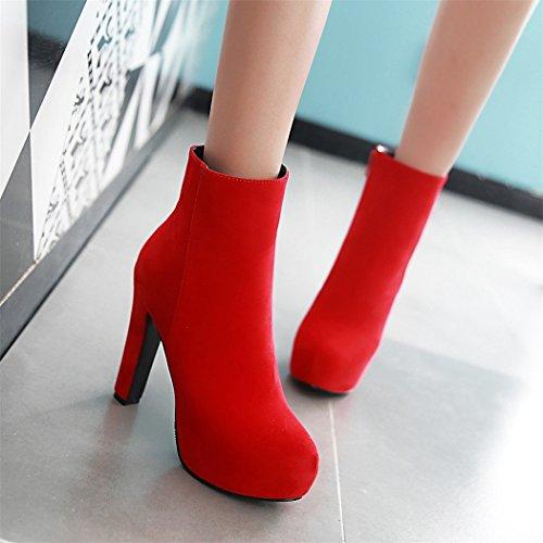ZQ@QX In autunno e in inverno, testa rotonda bold e elegante zip laterali grandi cantieri, Stivali Stivali femmina red