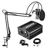 Neewer NW-700 - Professional condenser kit microphone + 48 V Phantom power, with battery charger and an audio cable for XLR Condenser Microphone, Black
