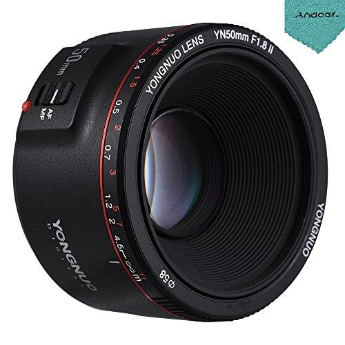 YONGNUO YN50mm F1.8 II Objectif Standard Prime avec Grande Ouverture Auto Focus 0.35 Plus Proche Focale pour Canon EOS 70D 5D2 5D3 600D DSLR Caméra