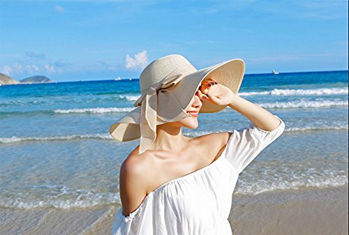 Qingsun Floppy Chapeau Unisexe Wide Brim Chapeau Fashion Voyage Chapeau de Plage idéal pour Vacances Pliable Chapeau de paille à Large bord pour Femme(Orange) Beige