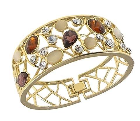 StunningBoutique Magnifique bracelet jonc plaqué or 18 carats orné de zircones Swarovski elements avec coffret cadeau pour femme