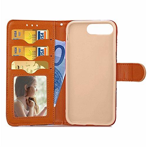 Voguecase® Pour Apple iphone 7 Plus 5,5 Coque, Étui en cuir synthétique chic avec fonction support pratique pour Apple iphone 7 Plus 5,5 (fente rotation-Noir)de Gratuit stylet l'écran aléatoire univer Marron