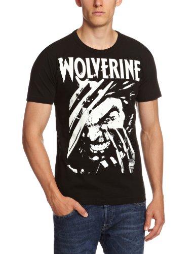 Logoshirt - Camiseta de Lobezno con cuello redondo unisex, talla X-Large, color negro (vintage black)