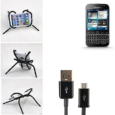 supporto da tavolo con cavo di ricarica, caricabatteria, docking station per Blackberry Classic, nera