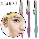 Glamza, Augenbrauen-Former, Augenbrauen-Rasierer und Dermaplaning, Damen-Rasierer, Trimm-Werkzeug, Pflege-Set, sicher, schmerzlos, tragbar, 3er-Pack