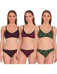 Soft Care Softs Pack of 3 Bikini Set Elegant Design High Quality Cotton Comfort Fabric (Size 32/34/36)