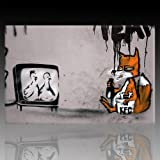 Bild auf Leinwand Banksy Graffiti Kunstdruck Street Art - Chicken TV (60x90 cm)