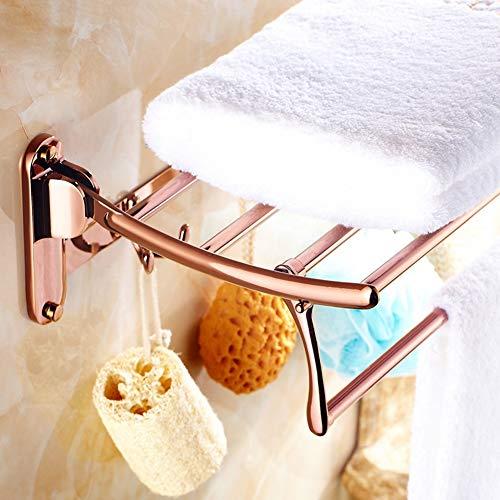 BAIVIT Falten Edelstahl Handtuchhalter Bad Regal Handtuchstange Hardware Wandbehang Gewebe auf die Toilette Badezimmer Zubehör,Rosegold