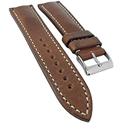 Minott Chrono Replacement Watch Strap 20 mm - 24 mm | Leather Dark Brown with Contrast Stitching 30453, Width: 24 mm, Clasp: Silver