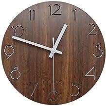 jomparis 30 cm vintage números romanos diseño rústico Country estilo Toscano Madera reloj de pared redondo