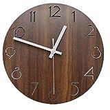 jomparis 12 Zoll/30CM Hölzern Wanduhr Küchenuhr Nicht-tickende Uhr für die Küche Home Office Wohnzimmer und Schlafzimmer (Dunkelbraun)-MEHRWEG